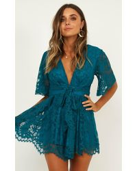 Showpo Break The Bar Playsuit In Teal Lace - Blue