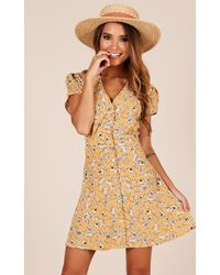 Showpo - My Last Time Dress In Yellow Floral - Lyst