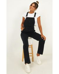 Showpo Kiera Denim Overalls - Black