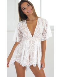 Showpo - Break The Bar Playsuit In White Lace - Lyst