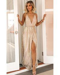 Showpo New York Nights Maxi Dress - Metallic