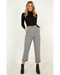 Showpo Alpine Trousers In Grey Check - Gray