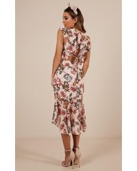 Showpo - Tighten The Strings Dress In Blush Floral - Lyst
