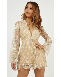 Showpo I Could Use A Love Song Playsuit - Natural