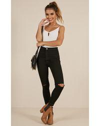 Showpo - Bella Skinny Jeans In Black Denim - Lyst