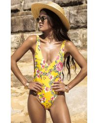 Showpo - Pamela One Piece In Marigold Floral - Lyst