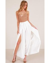 Showpo - Black Out Trousers In White - Lyst