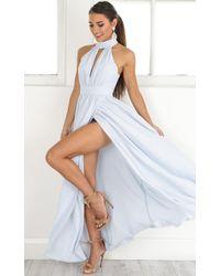 Showpo - Twilight Star Maxi Dress In Pale Blue - Lyst