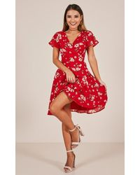 Showpo - At Ease Dress In Red Floral - Lyst