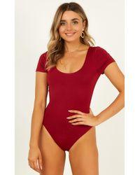 Showpo - Here She Is Bodysuit In Wine - Lyst