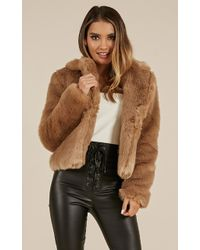 Showpo - Harlow Faux Fur Coat In Beige - Lyst