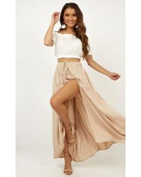 Showpo Under The Twilight Maxi Skirt - Natural