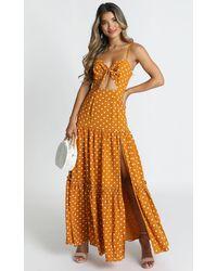 Showpo Spot Me If You Wish Dress In Mustard Spot - Orange