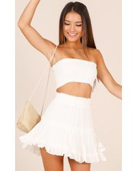 Showpo | Outside The Line Two Piece Set In White | Lyst