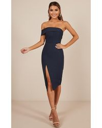 Showpo - By Your Side Dress In Navy - Lyst