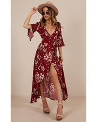 Showpo - Slipped Away Dress In Wine Floral - Lyst