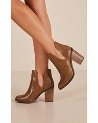 Showpo - Lipstik - Joanie Boots In Tan - Lyst