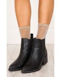 Showpo - Queen Glitter Socks In Nude - Lyst
