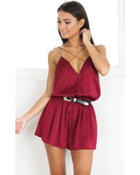 Showpo - Clap Your Hands Playsuit In Wine - Lyst