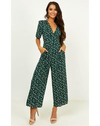 Showpo Hit The Lights Jumpsuit - Green