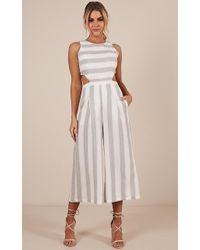 Showpo Out Dream Yourself Jumpsuit In Grey Stripe