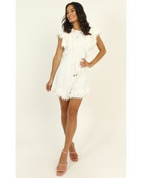 Showpo Dream All Day Ruffle Playsuit - White
