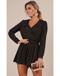 Showpo - Lost Time Playsuit In Black - Lyst