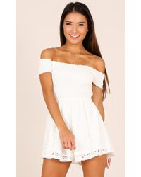 Showpo | More Life Playsuit In White Lace | Lyst