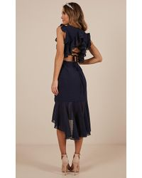 Showpo - Tighten The Strings Dress In Navy - Lyst