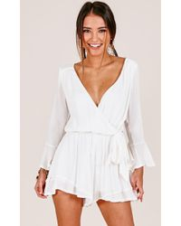 Showpo - Sunday Breeze Playsuit In White - Lyst