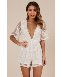 Showpo Face The Music Playsuit - White