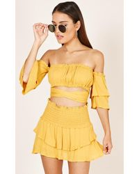 Showpo - There For You Skort In Mustard - Lyst
