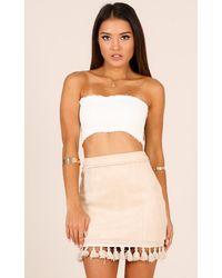Showpo Dream Life Skirt In Beige - Natural