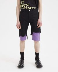 Raf Simons Slim Fit Double Destroyed Denim Short - Black
