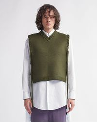 Craig Green Laced Knitted Wool Vest - Olive - Green