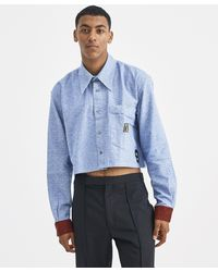 Xander Zhou - Blue And Black Cropped Shirt - Lyst