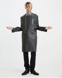 Raf Simons Leather Scarf For Coat - Black