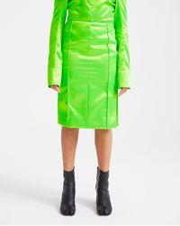 Kwaidan Editions Knee Length Faceted Skirt - Neon Green