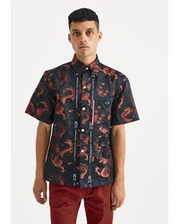Xander Zhou - Red Black Dragon Print Shirt - Lyst