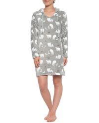Munki Munki Gray Polar Bear Hooded Fleece Nightshirt