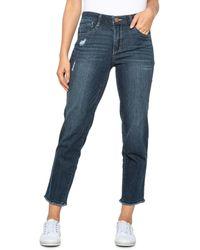 Democracy Abtechnology Slim Fray Hem Straight Leg Jeans - Blue