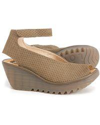 Fly London Yala Wedge Peep Toe Shoes - Natural