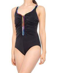Reebok Mad Dash Zip One-piece Swimsuit - Black