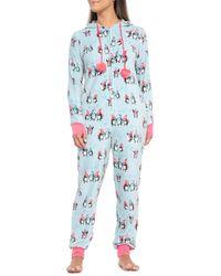Munki Munki Blue Penguins One-piece Pajamas