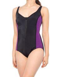 Reebok Color-block Zip One-piece Swimsuit - Multicolor