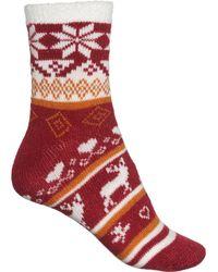 Woolrich Snowflake Deer Double Layer Aloe Infused Cozy Socks - Red