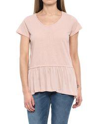 0a0f4a5718a1d Lyst - Bobeau Peplum Floral Cold Shoulder Shirt in Blue