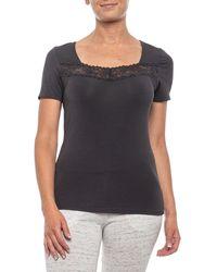 CALIDA Evita Lace Trim Shirt - Black