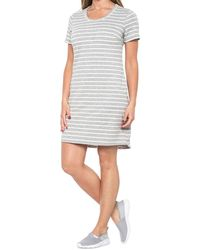 32 Degrees Striped Round Hem Dress - Gray