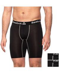 Reebok High-performance Long Leg Boxer Briefs - Black